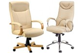 Cream Leather Office Chairs
