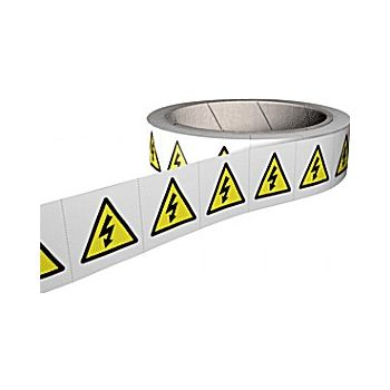 Risk Of Electrocution & High Voltage Hazard Labels – Roll of 250 £31 -