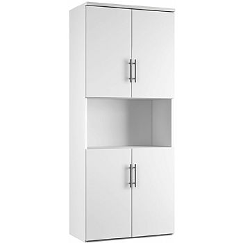 Double Combo Cupboard With Shelf White