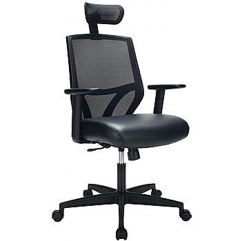 Impact Mesh Office Chair with Pocket Sprung Leather Seat £133 -