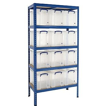 Value Shelving Bay With 12 x 24 Litre Really Useful Boxes £175 -