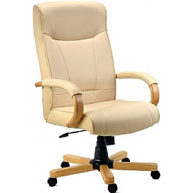 Knightsbridge Cream Leather Faced Manager Chair £132 - Office Furniture
