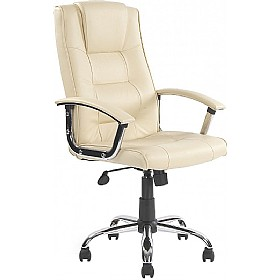 Melbourne Leather Faced Manager Cream £69 - Office Furniture
