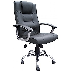 Melbourne Leather Faced Manager Chair Black £69 - Office Furniture