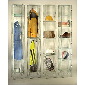 Electroplated Zinc Finish Wire Mesh Lockers Without Doors
