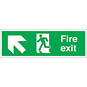 Fire Exit Left Up Diagonal Arrow