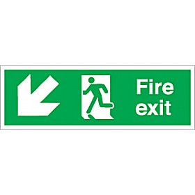 Fire Exit Down Left Diagonal Arrow