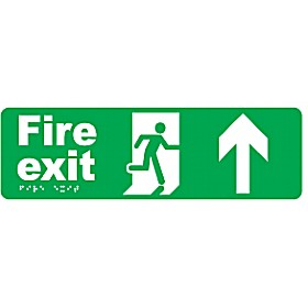 Braille Fire Exit Up Arrow Sign