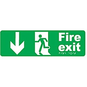 Braille Fire Exit Down Arrow Sign
