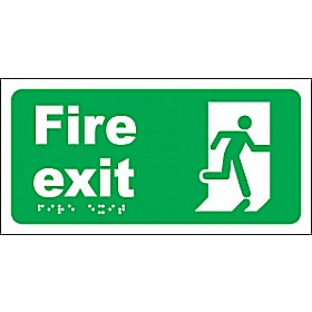 Braille Fire Exit Sign