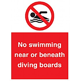 No Swimming Near Or Beneath Diving Boards Sign