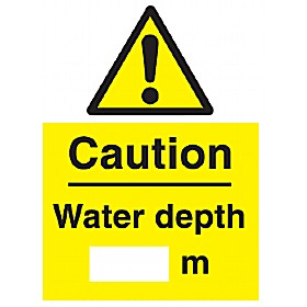 Caution Water Depth ----- m Sign
