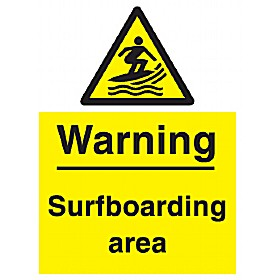 Warning Surfbaording Area Sign