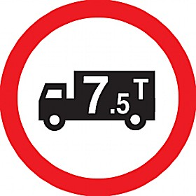 7.5 Tonne Weight Limit Sign