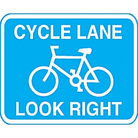 Cycle Lane Look Right Sign