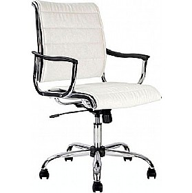 white leather look swivel chair from our leather office chairs 150