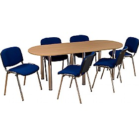 BUNDLE DEAL D-End Meeting Table - Beech & 6 Tamar Chairs With Chrome Frame £419 - Office Furniture