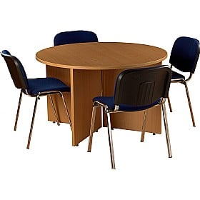Bundle Deal - Round Meeting Table With 4 Chairs £234 - Office Furniture