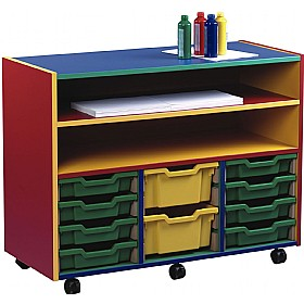 Multi Coloured 12 Tray Shallow Mobile Combination Unit