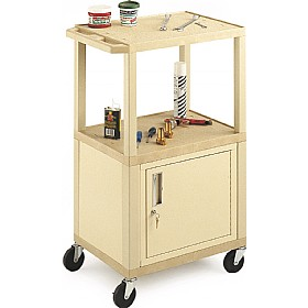 Tall 3 Shelf Trolley With Cabinet