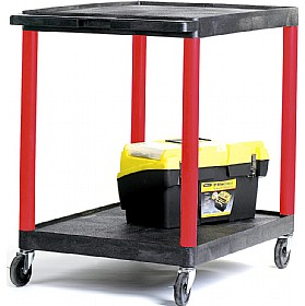 2 Shelf Service Trolleys With Coloured Legs