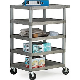 5 Shelf Grey Service Trolley