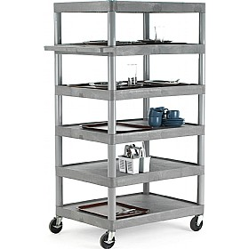 6 Shelf Grey Service Trolley