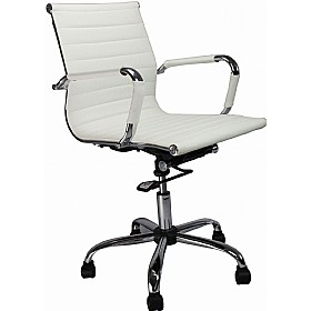 reflex white leather effect swivel chair 161 office furniture