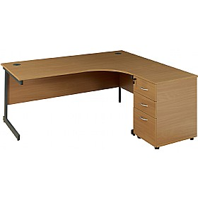 NEXT DAY Solar Ergonomic Cantilever Desks With Desk High Pedestal £273 - Office Furniture