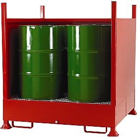Drum Sump Storage System With Sides for 4 Vertical Drums