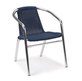 Aluminium Wicker Armchair Blue