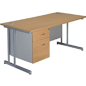 NEXT DAY Merge Cantilever Single Fixed Pedestal Desks