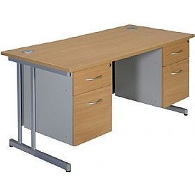 NEXT DAY Merge Cantilever Double Fixed Pedestal Desks