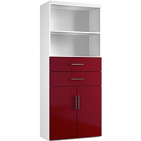 Reflections Burgundy Double Door Combination Cupboard With Drawers And Shelves