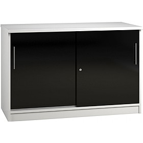 Reflections Black Credenza Sliding Door Cupboards