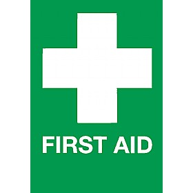 First Aid White Cross Sign