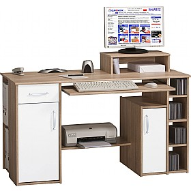 Alaska Computer Desk Oak/White £163   Office Furniture