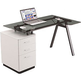 Arctic Ergo Glass Computer Desk £165 - Office Furniture