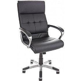 Dereham Executive Leather Faced Office Chair Black