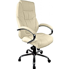 Genoa Leather Executive Office Chair Cream Cheap Genoa