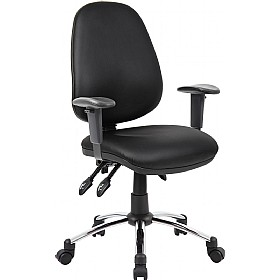 Comfort 2-Lever Leather Operator Chairs With Chrome Base