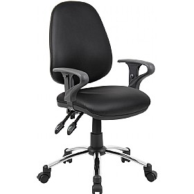 Comfort 3-Lever Leather Operator Chairs With Chrome Base