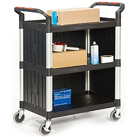 Proplaz Black 3 Shelf Enclosed Trolley