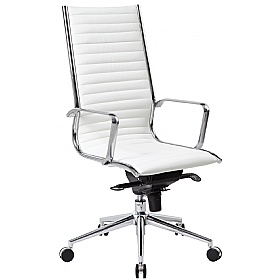 Abbey High Back White Leather Office Chair