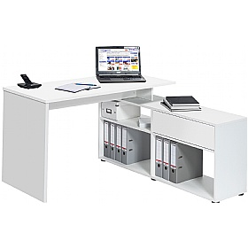 Falco Icy White Computer Desk With Sideboard