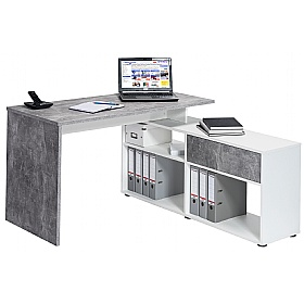 Falco Concrete Grey Computer Desk With Sideboard