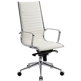 Abbey High Back Leather Office Chair Ivory