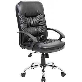 Cadiz Chrome Leather Faced Manager Chair