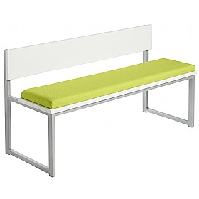 Unite Low Bench With Wooden Back and Upholstered Seat