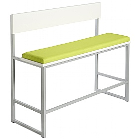 Unite High Bench With Wooden Back and Upholstered Seat
